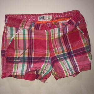 Girls Pink Plaid Shorts